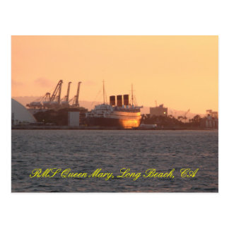 Queen Mary sunset Postcard