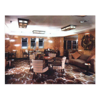 Queen Mary tourist class library & writing room Postcard
