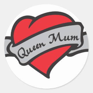 queen mum classic round sticker