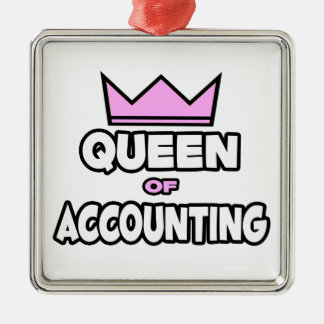 Queen of Accounting Metal Ornament