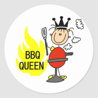Queen of Barbequeing Round Sticker