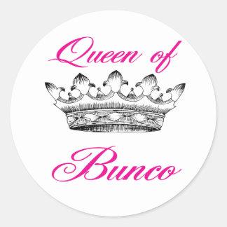 queen of bunco classic round sticker