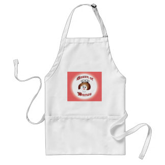 queen of bunco with crown and dice necklace adult apron