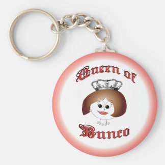 queen of bunco with crown and dice necklace basic round button keychain