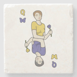 Queen of Butterflies Card Girl Stone Coaster