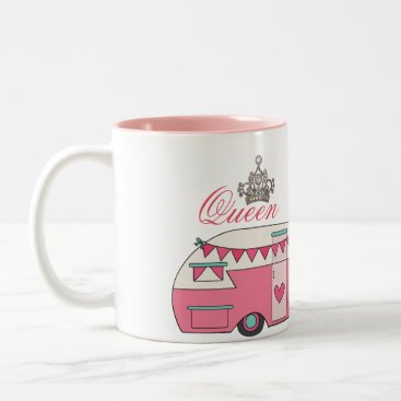Valentines Themed Queen of Camping Two-Tone Coffee Mug