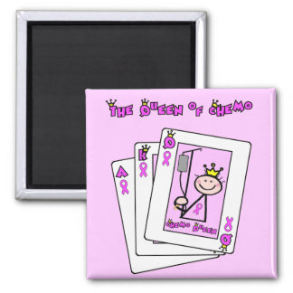 Queen of Chemo - Breast Cancer Pink Ribbon 2 Inch Square Magnet