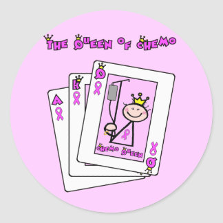 Queen of Chemo - Breast Cancer Pink Ribbon Classic Round Sticker