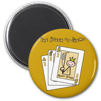 Queen of Chemo - Childhood Cancer Gold Ribbon 2 Inch Round Magnet