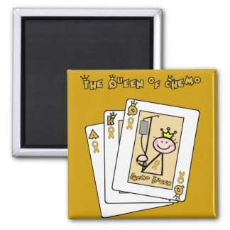 Queen of Chemo - Childhood Cancer Gold Ribbon 2 Inch Square Magnet