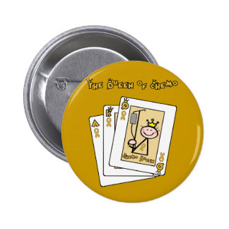 Queen of Chemo - Childhood Cancer Gold Ribbon Button