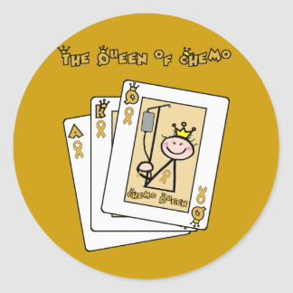 Queen of Chemo - Childhood Cancer Gold Ribbon Classic Round Sticker