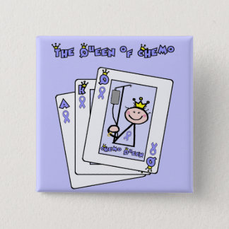 Queen of Chemo - Lavender Ribbon General Cancer Button