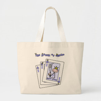 Queen of Chemo - Lavender Ribbon General Cancer Large Tote Bag