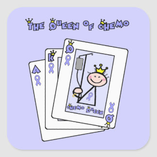 Queen of Chemo - Lavender Ribbon General Cancer Square Sticker
