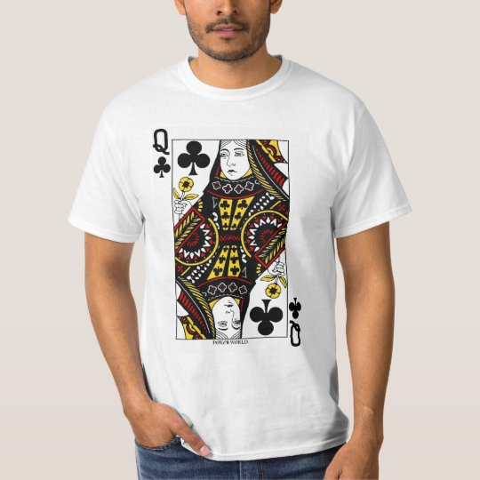Queen Of Clubs Playing Card T-Shirt