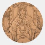 Queen Of Cups - Tarot Card Classic Round Sticker
