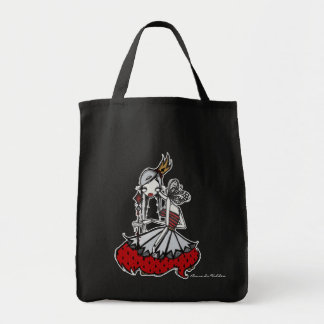 """""""Queen of Diamonds"""" Black Grocery Grocery Tote Bag"""