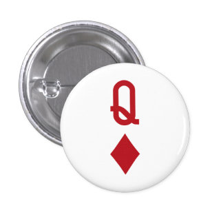 Queen of Diamonds Red Playing Card Pinback Button