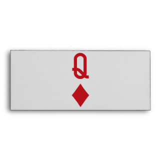 Queen of Diamonds Red Playing Card Envelope