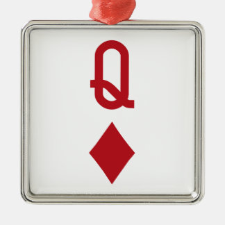 Queen of Diamonds Red Playing Card Christmas Tree Ornaments