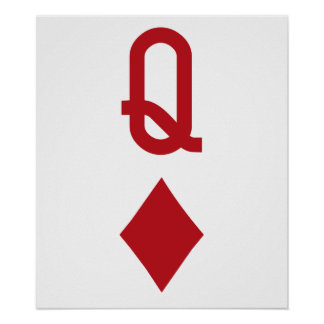 Queen of Diamonds Red Playing Card Print