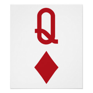 Queen of Diamonds Red Playing Card Posters