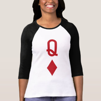 Queen of Diamonds Red Playing Card T-Shirt