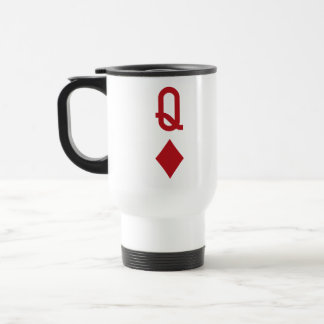 Queen of Diamonds Red Playing Card Travel Mug