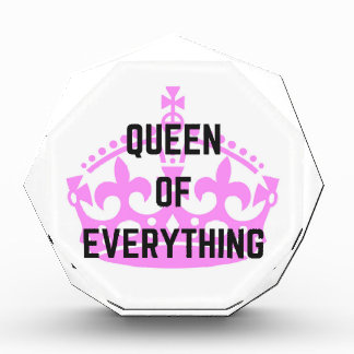 Queen Of Everything Crown Text Illustration Acrylic Award