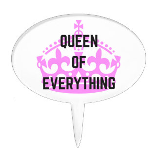 Queen Of Everything Crown Text Illustration Cake Topper