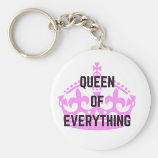 Queen Of Everything Crown Text Illustration Keychain