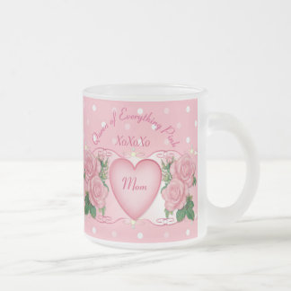 Queen of Everything Pink Frosted Glass Coffee Mug