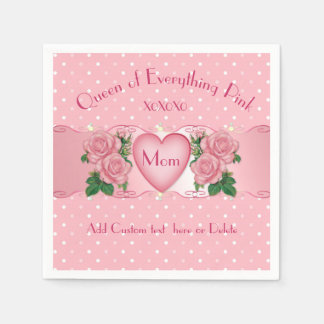 Queen of Everything Pink Mom Paper Napkin