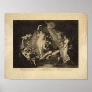 Queen of Fairies, Vintage 1796 Print