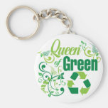 Queen of Green Basic Round Button Keychain