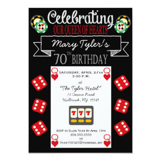 Queen of Hearts 70th Birthday Party Invitation