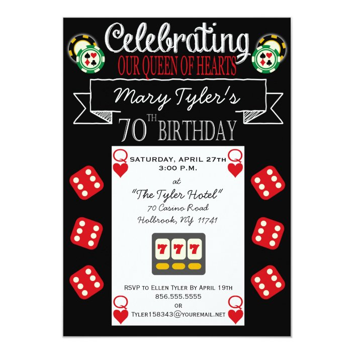 Hearts 70th Birthday Party Invitation