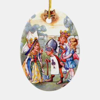 Queen of Hearts & Alice in the Rose Garden Ceramic Ornament