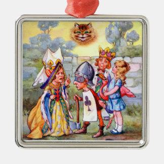 Queen of Hearts & Alice in the Rose Garden Metal Ornament