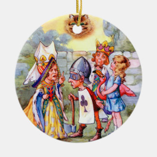 Queen of Hearts and Alice In Wonderland Double-Sided Ceramic Round Christmas Ornament