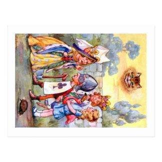 Queen of Hearts and Alice In Wonderland Postcard