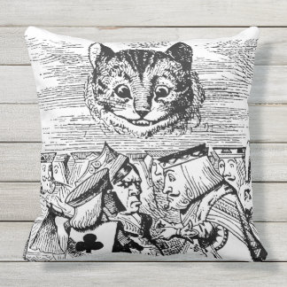 Queen of Hearts and Cheshire cat Throw Pillow