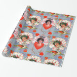 QUEEN OF HEARTS ,Blue Red Valentine's Day Wrapping Paper