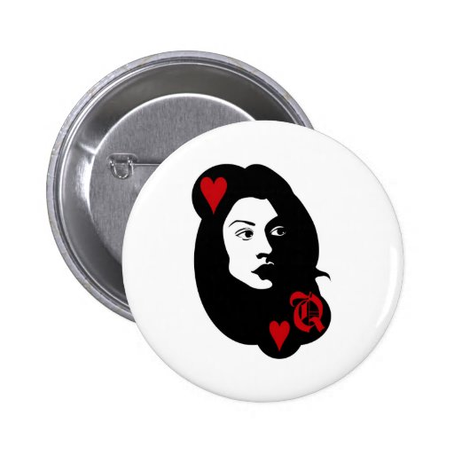 Queen of hearts pinback buttons