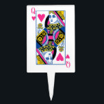 "Queen of Hearts Cake Topper<br><div class=""desc"">This fun design features the Queen of Hearts from a deck of playing cards.</div>"