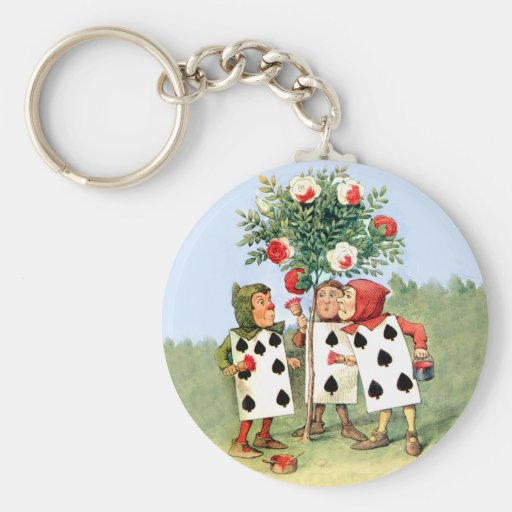 Queen of Hearts' Cardmen Paint the Queens Roses Basic Round Button Keychain
