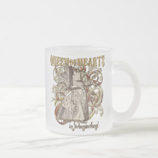 Queen of Hearts Carnivale Style (Gold Version) Frosted Glass Coffee Mug