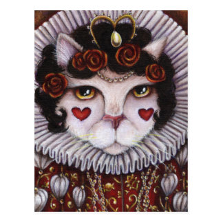 Queen of Hearts Cat Alice Wonderland Fantasy Art Postcard