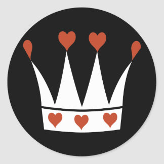 Queen of Hearts Crown Classic Round Sticker